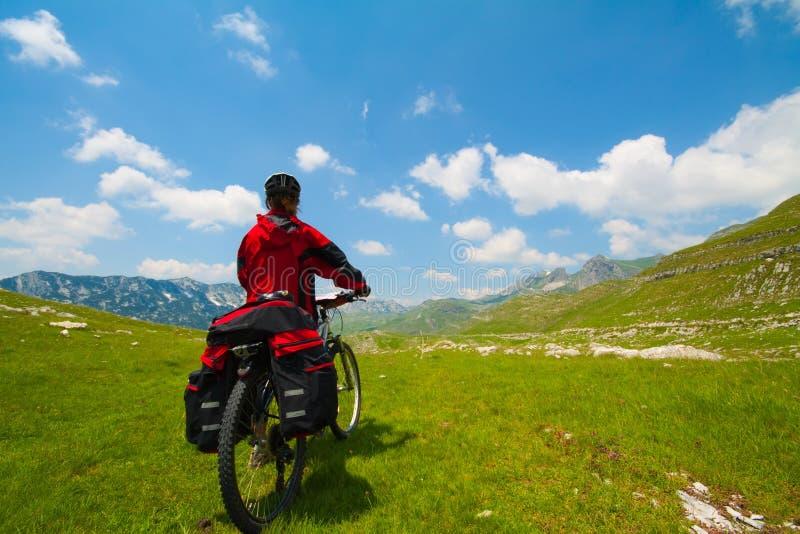 Femme avec le vélo de montagne photographie stock