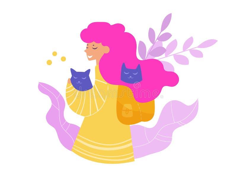 Femme avec le vecteur de chat cartoon Art d'isolement sur le fond blanc illustration stock