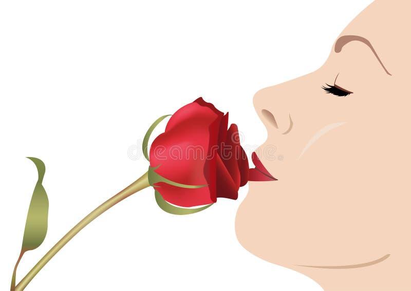 Femme avec le vecteur rose illustration libre de droits