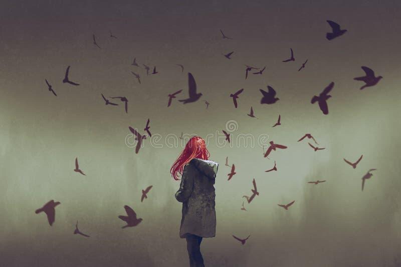 Femme avec les cheveux rouges se tenant parmi des oiseaux illustration libre de droits