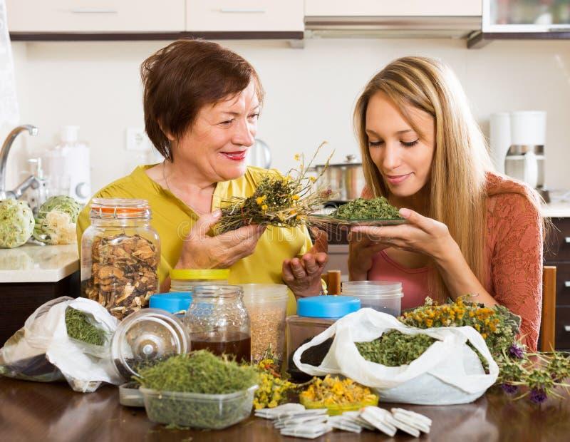 Femme avec les herbes médicinales photographie stock