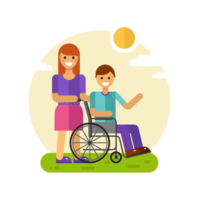 Femme avec les hommes dans le fauteuil roulant illustration de vecteur