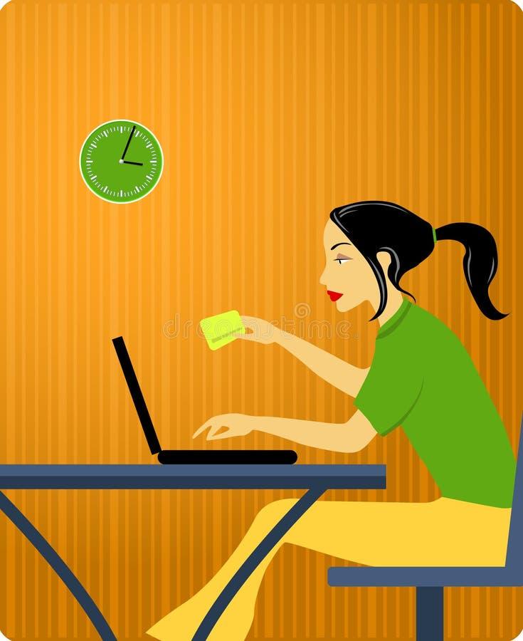 Femme avec par la carte de crédit illustration libre de droits