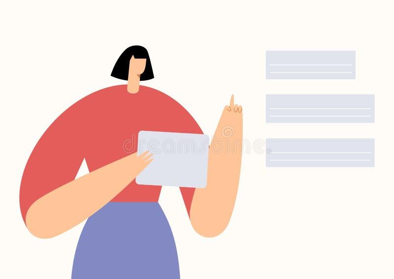 Femme avec tablette faisant un choix dans une application mobile. Réseaux sociaux, présentation des entreprises et interaction s illustration libre de droits