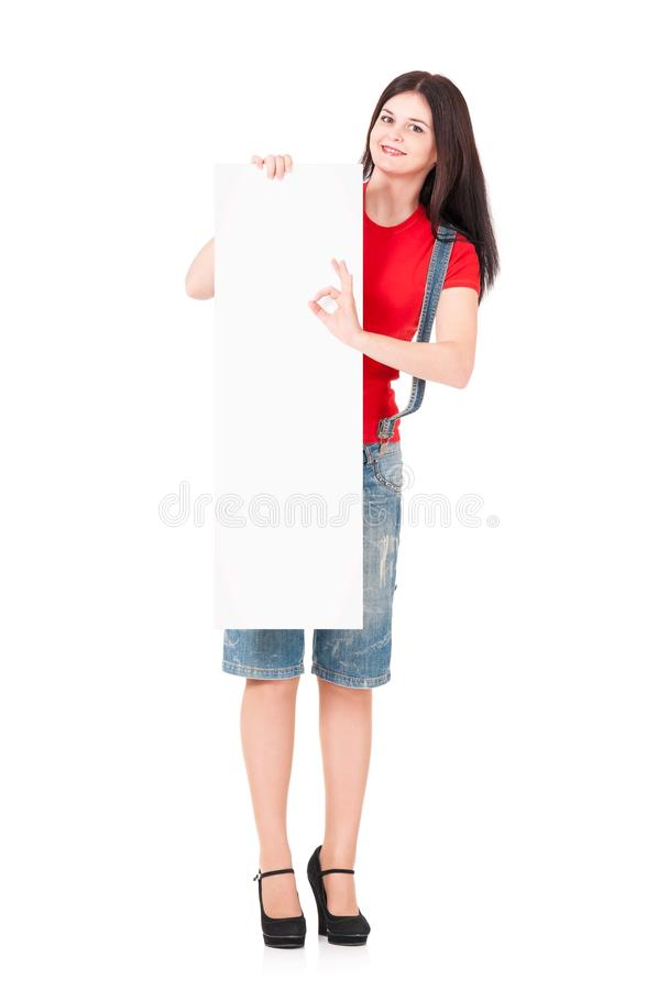 Femme avec un blanc photos stock