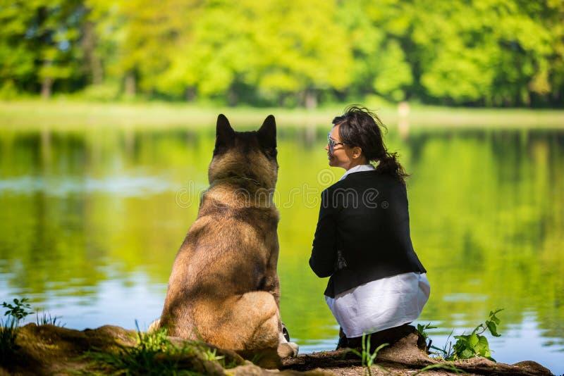 Femme avec un chien américain d'Akita photos libres de droits