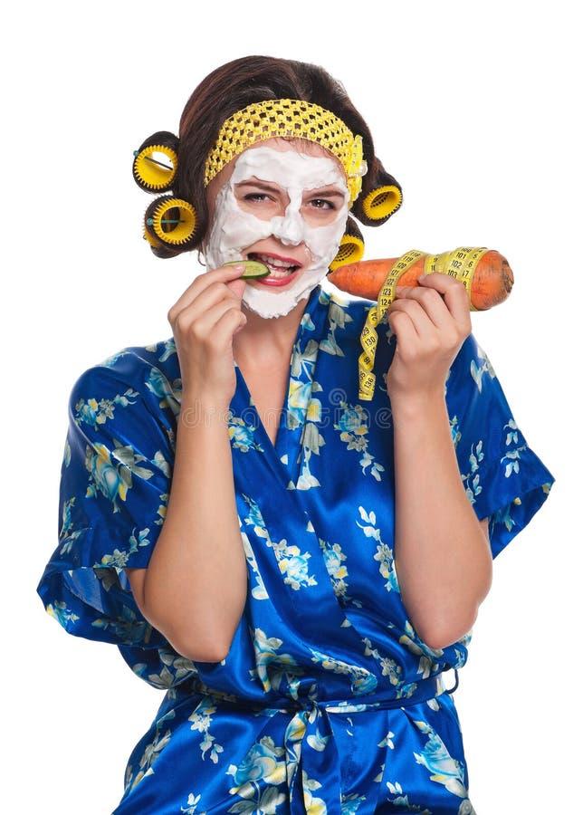 Femme avec un masque images libres de droits