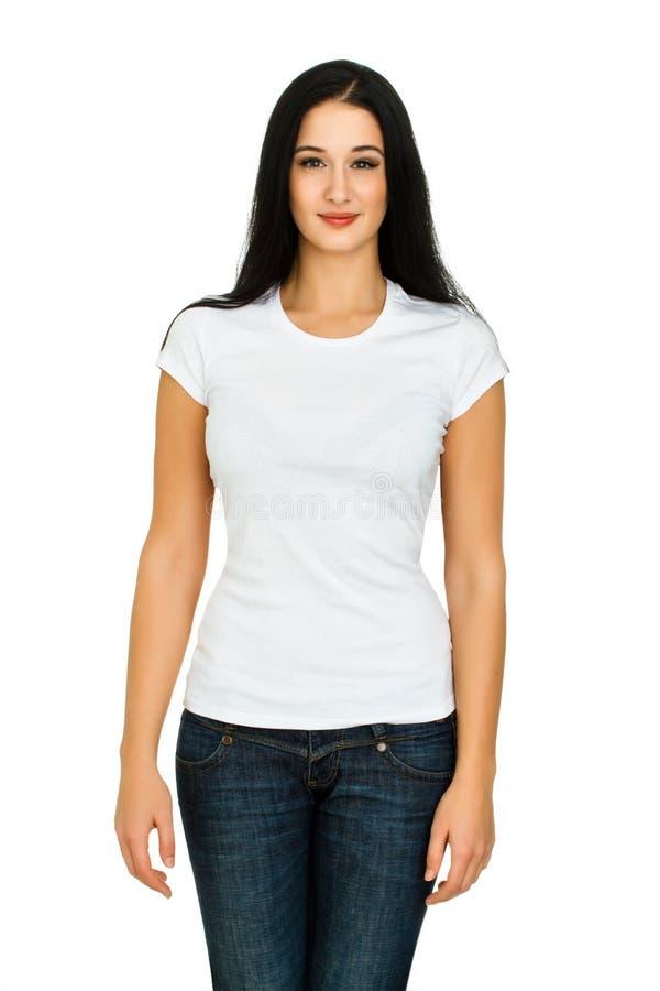Femme avec un T-shirt vide photo stock