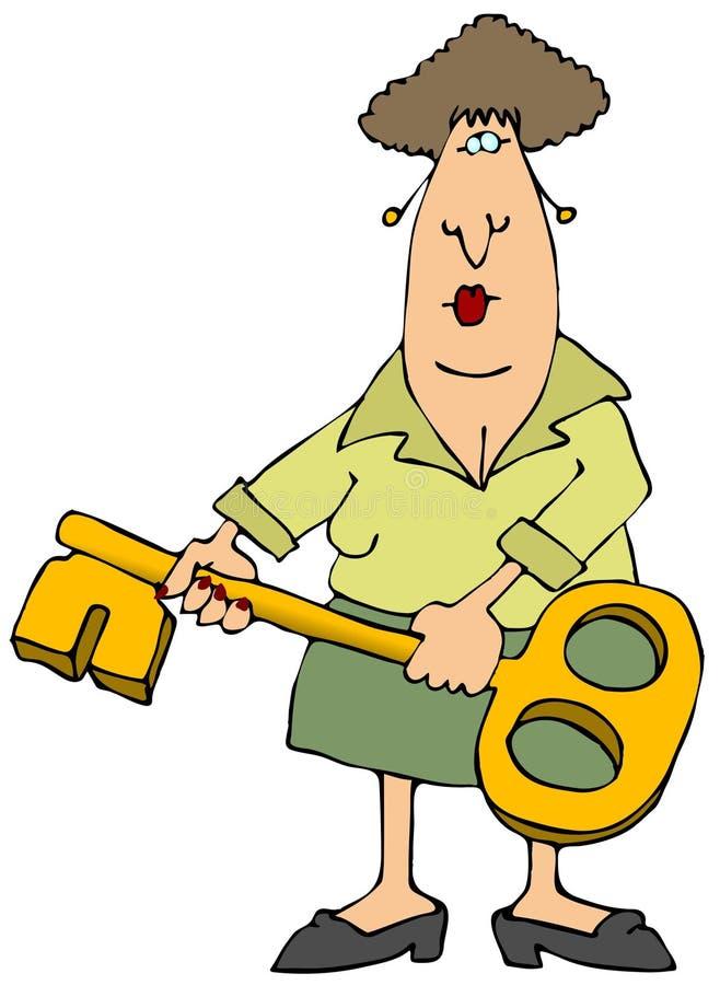 Femme avec une clé illustration libre de droits