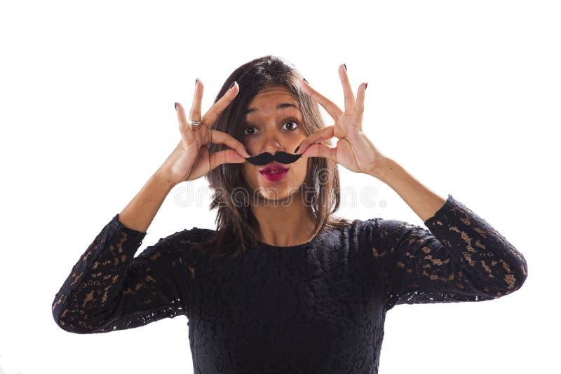 Femme avec une fausse moustache image libre de droits