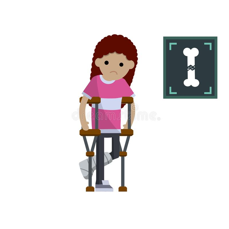 Femme avec une jambe cassée Illustration plate de bande dessinée illustration libre de droits