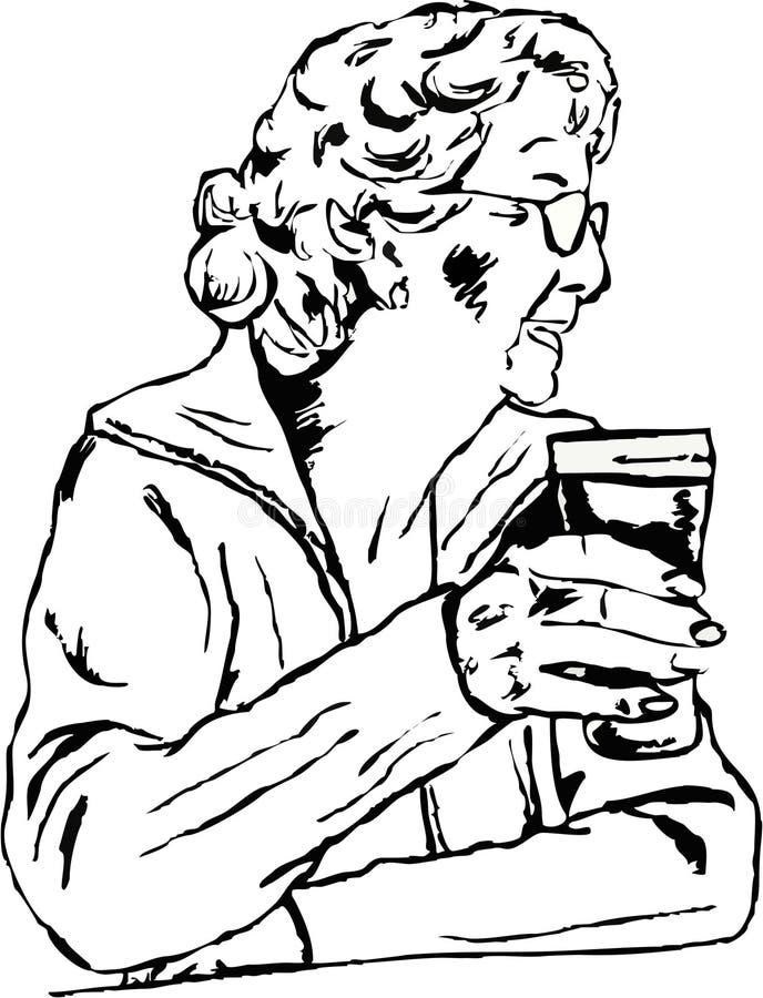 Femme avec une pinte illustration stock