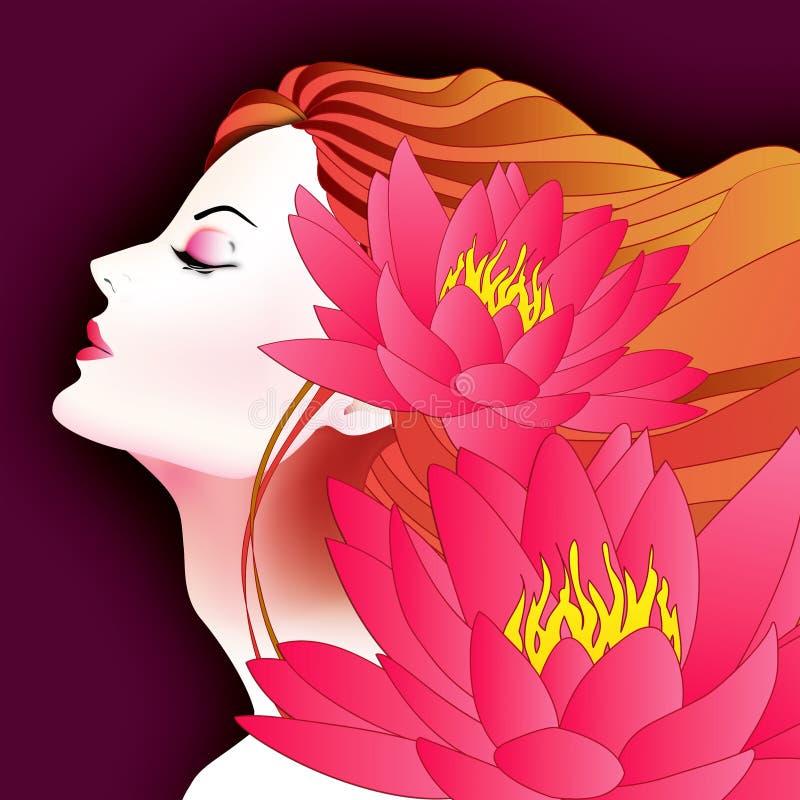 Femme avec Waterlily illustration stock