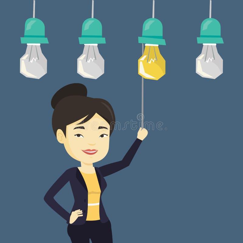 Femme ayant l'illustration de vecteur d'idée d'affaires illustration de vecteur