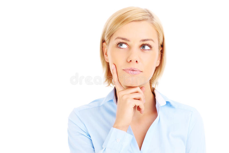Femme ayant une idée images stock