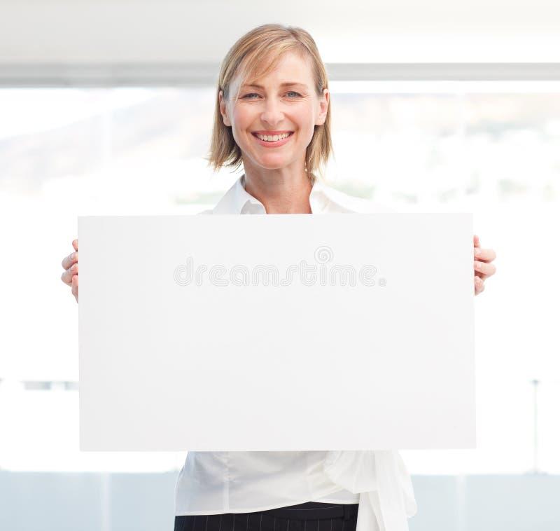 femme blanc de belle fixation vide de panneau images stock