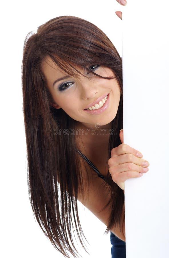 femme blanc de fixation de panneau-réclame photos stock