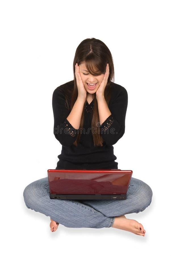 femme blanche d'ordinateur portatif de fond photo stock