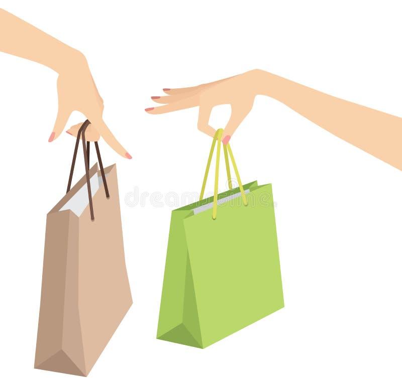 femme blanche de achat d'isolement par fixation de main de sac illustration de vecteur