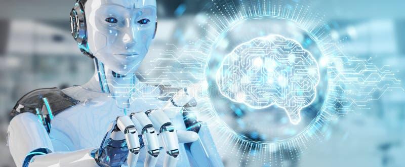 Femme blanche de humanoïde employant l'icône numérique d'intelligence artificielle illustration de vecteur