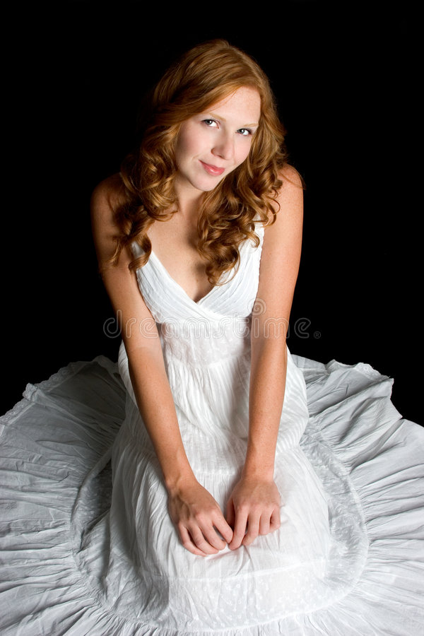 Femme blanche de robe photographie stock