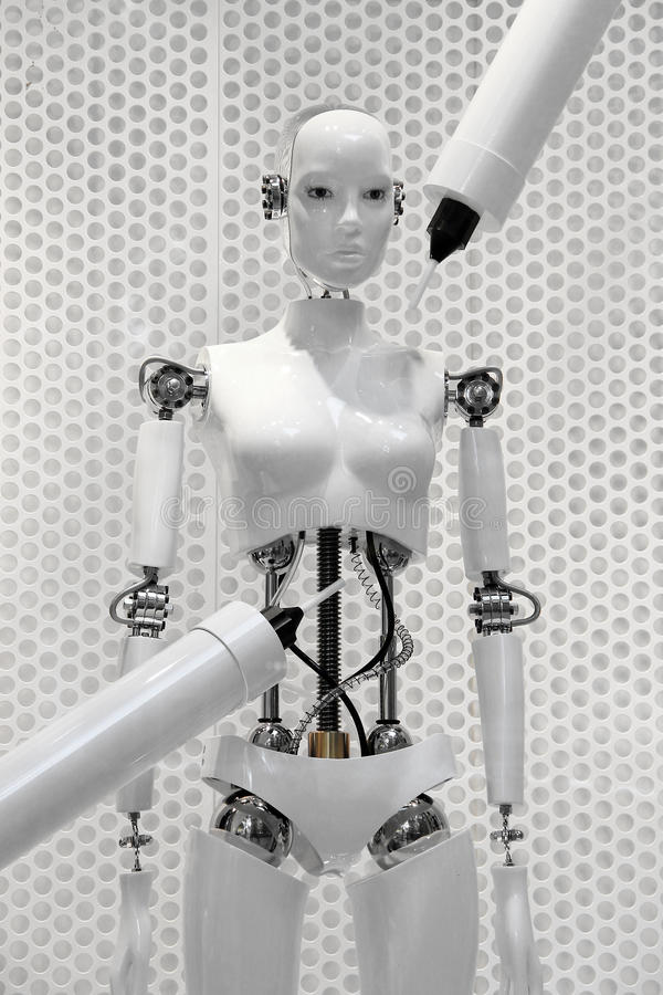 Femme blanche futuriste de robot fait par les machines photo libre de droits