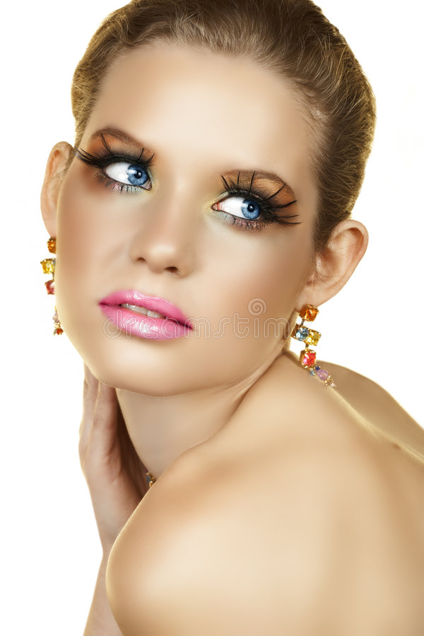 Femme blond avec les cils faux images libres de droits