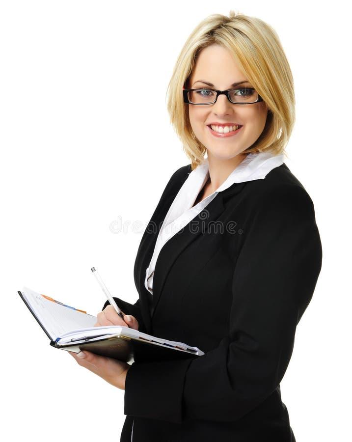 Femme blonde attirante d'affaires photographie stock