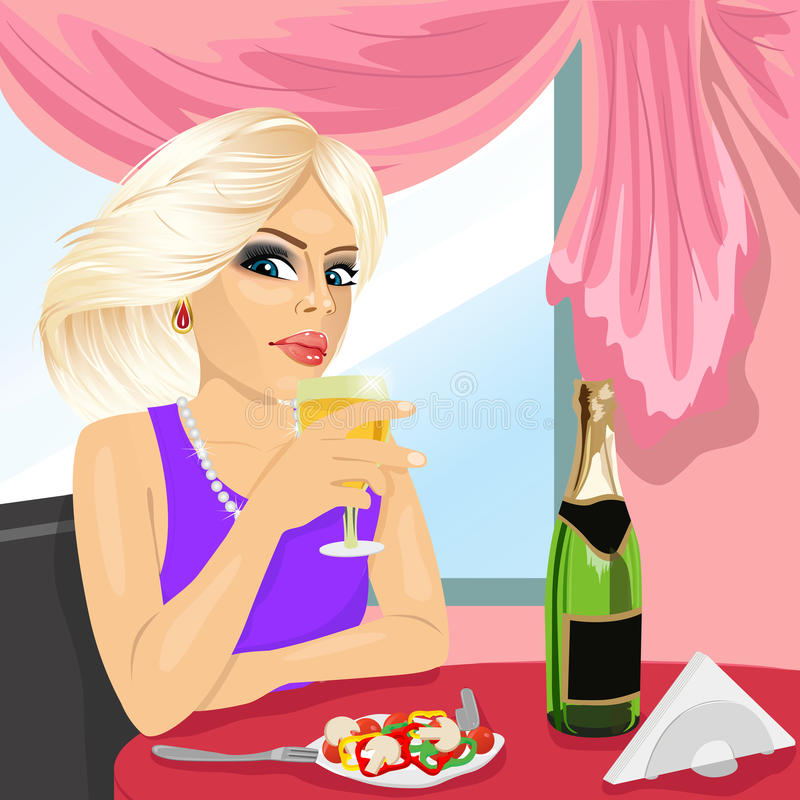 Femme blonde attirante dinant au restaurant illustration stock