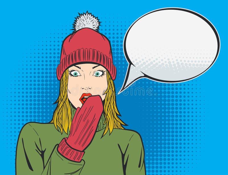 Femme blonde avec l'expression de wow dans le bruit Art Style illustration de vecteur