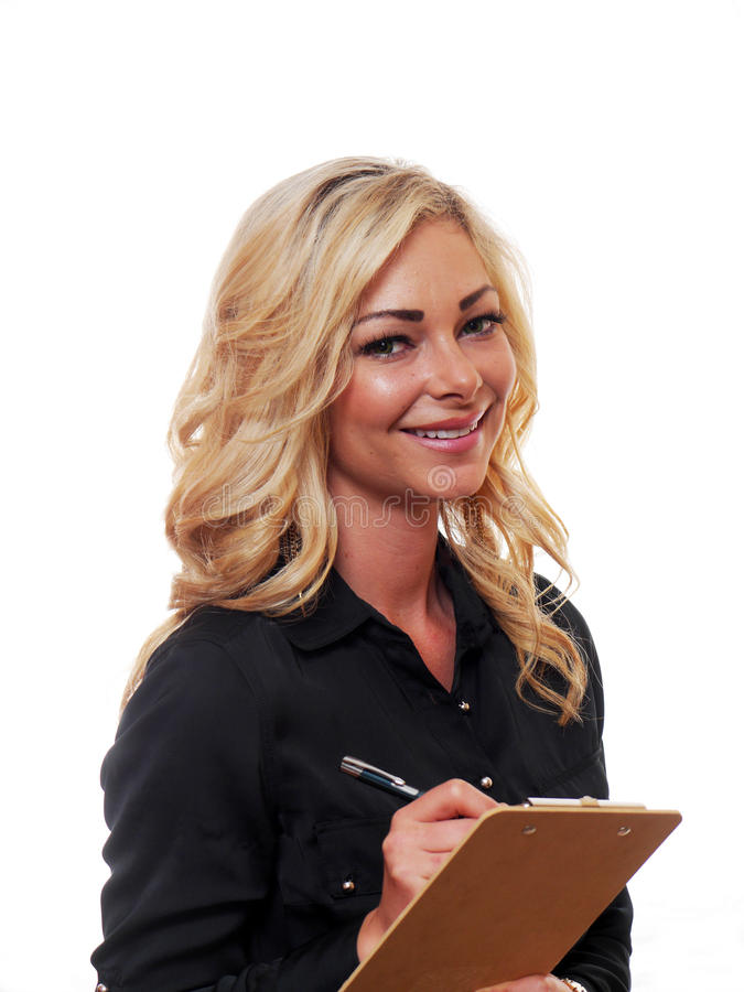 Femme blonde d'affaires images stock