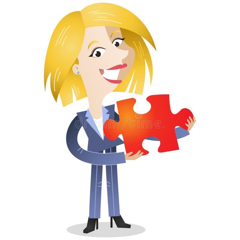 Femme blonde d'affaires tenant le morceau denteux rouge illustration de vecteur