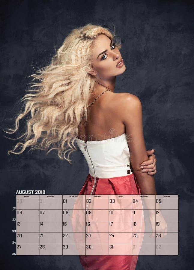 Femme blonde de beauté, calendrier images stock