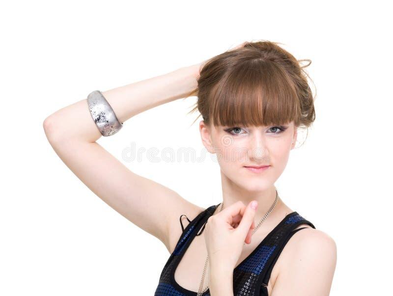 Belle femme avec de longs cheveux droits photos stock