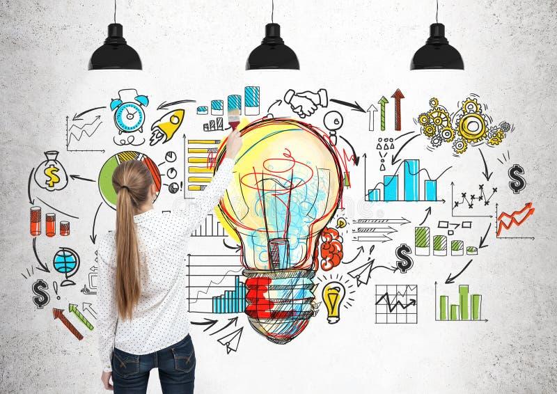 Femme blonde dessinant une ampoule, plan photographie stock libre de droits
