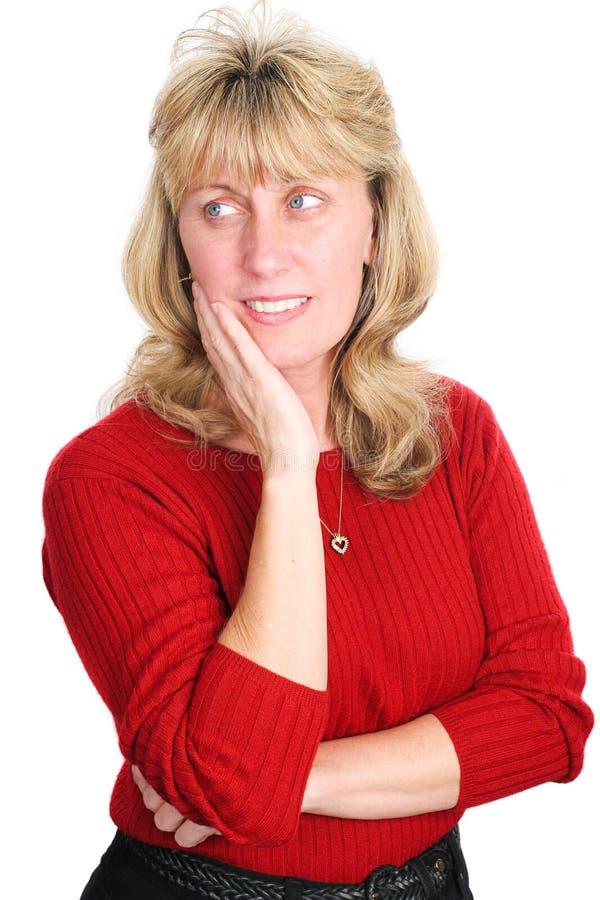 Femme blonde mûre - pensant images libres de droits