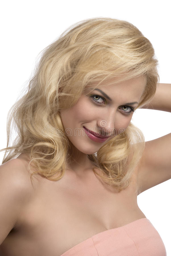Femme blonde sexy de sourire photos stock