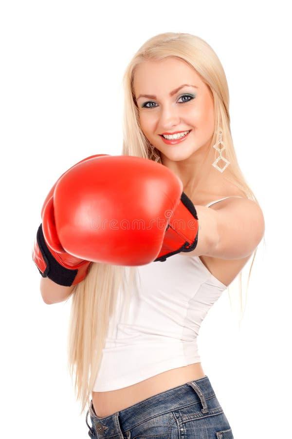 Femme sexy avec des gants de boxe image libre de droits