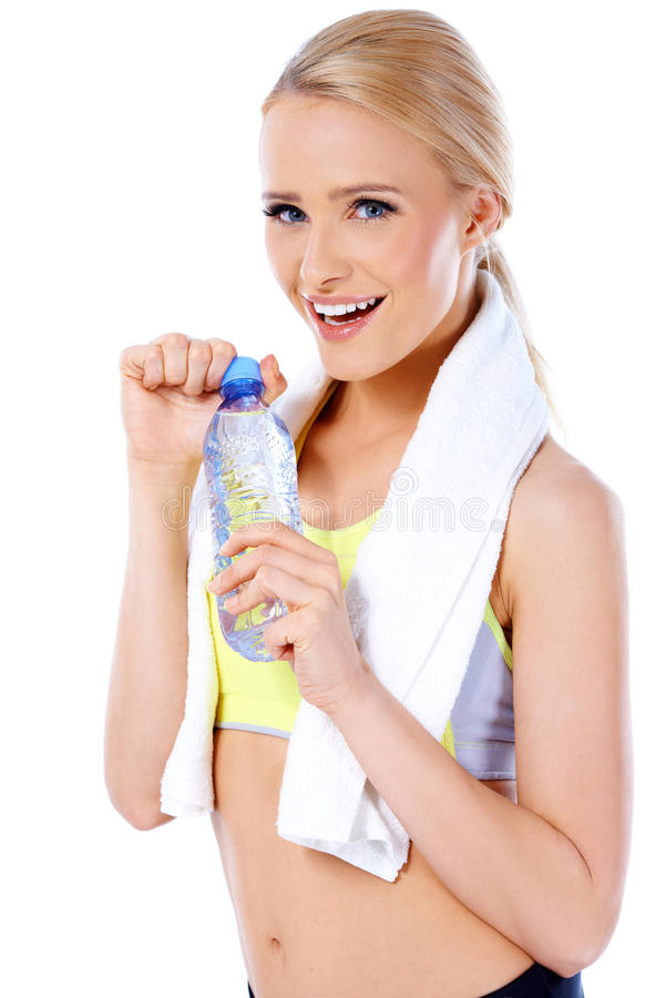 Femme blonde sportive adorable et sexy image stock