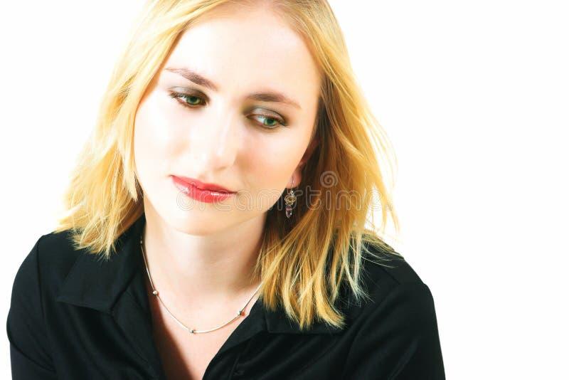 Femme blonde triste photographie stock libre de droits