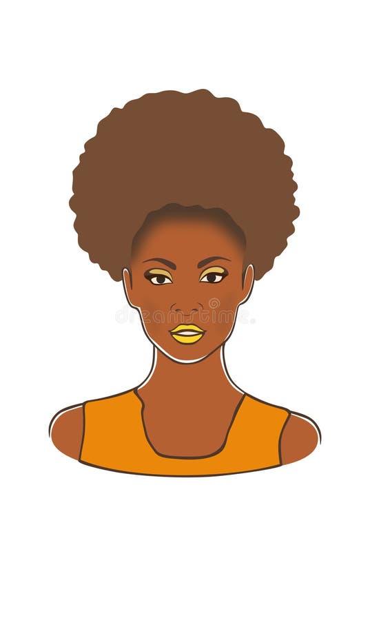 Femme blondy américaine de bel africain noir jolie dans l'illustration jaune de vecteur de mode de robe illustration de vecteur