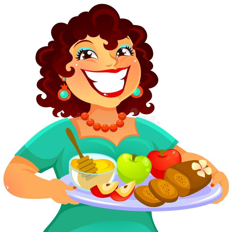 Femme célébrant Rosh Hashanah illustration stock