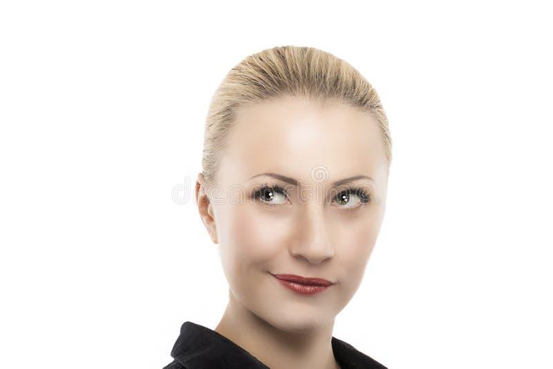 Femme caucasienne de pensée calme photo stock