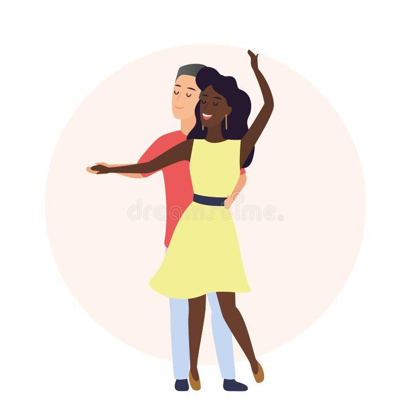 Femme caucasienne romantique heureuse d'homme et d'afro-américain Temps ensemble Couplez la danse dans l'illustration de vecteur  illustration de vecteur