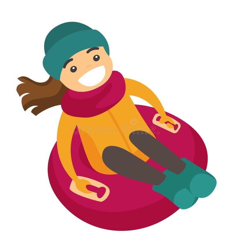 Femme caucasienne sledding vers le bas sur le tube en caoutchouc de neige illustration libre de droits