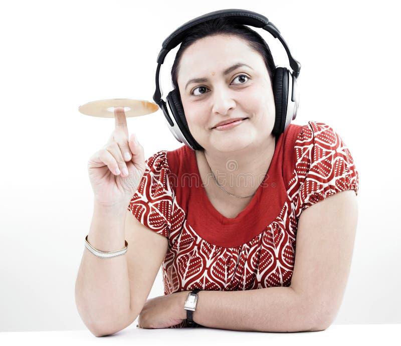 femme cd d'écouteurs photos libres de droits