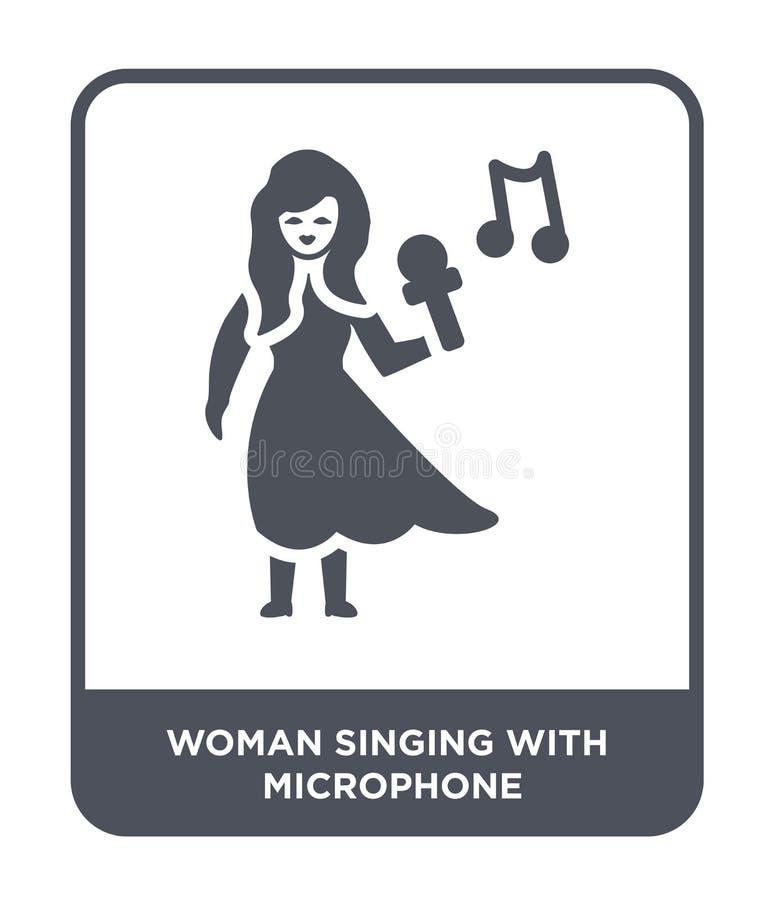 femme chantant avec l'icône de microphone dans le style à la mode de conception femme chantant avec l'icône de microphone d'isole illustration de vecteur