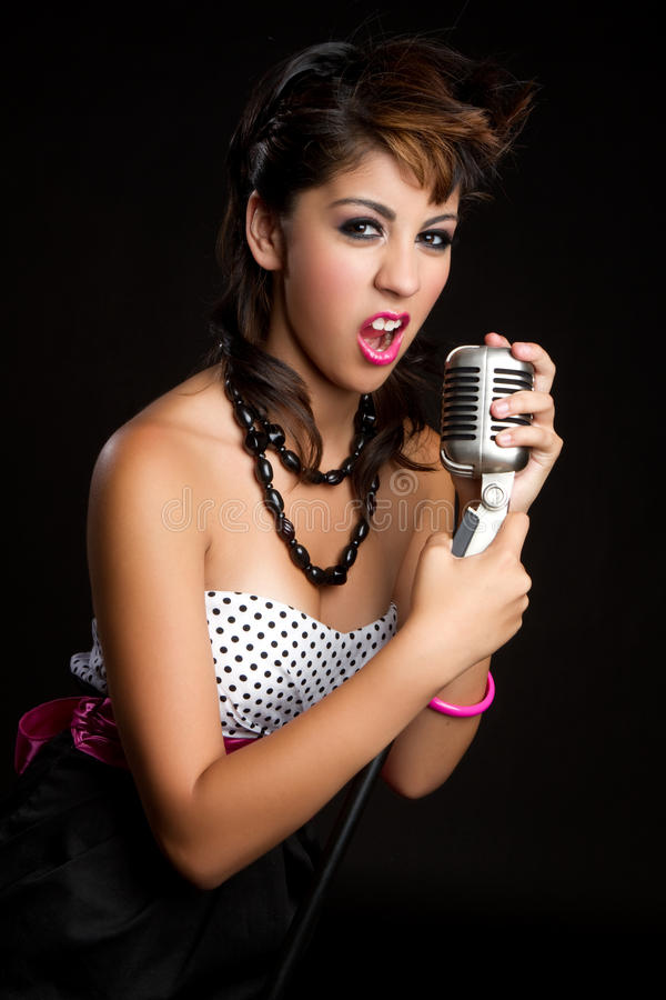 Femme chanteur photo stock