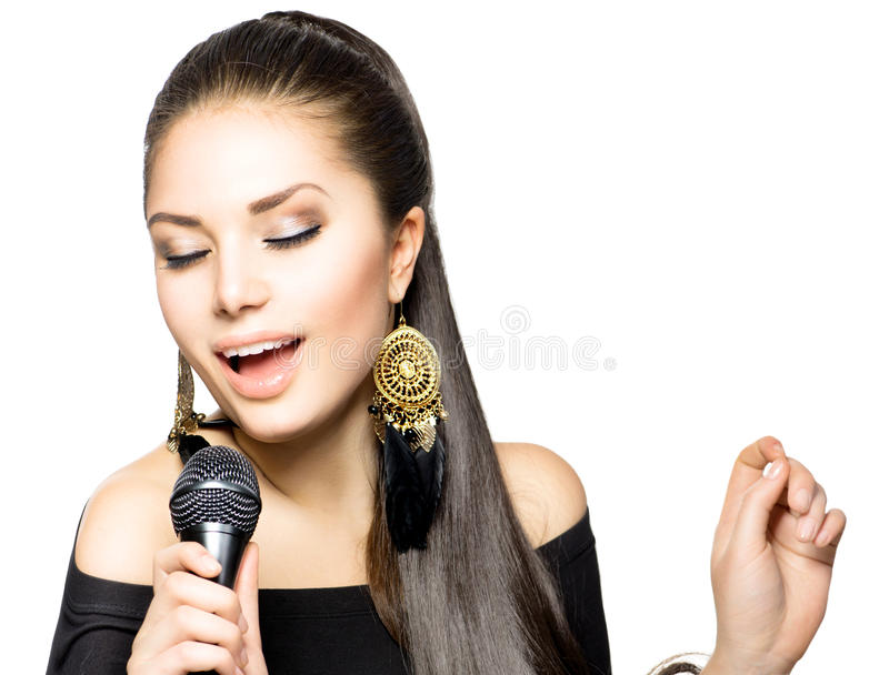 Femme chanteuse photo stock