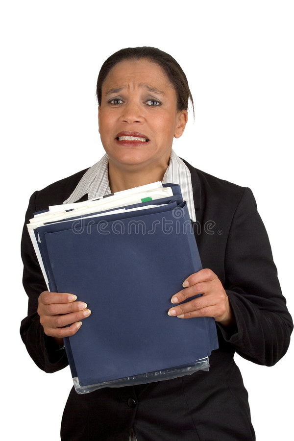 Femme chargée d'affaires photos stock